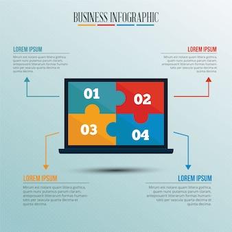 Инфографический шаблон с ноутбуком стиля головоломки