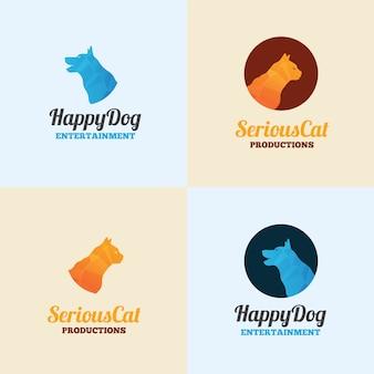 犬と猫のロゴテンプレート