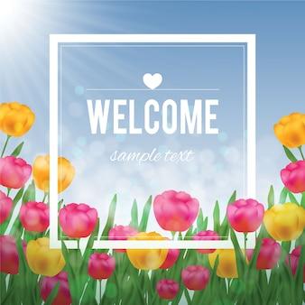 Цветочные иллюстрации с тюльпанами и белой рамкой