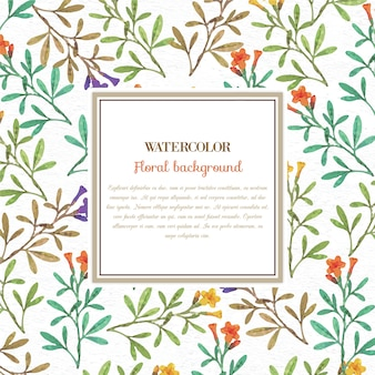 フレームを持つ水彩の花の背景