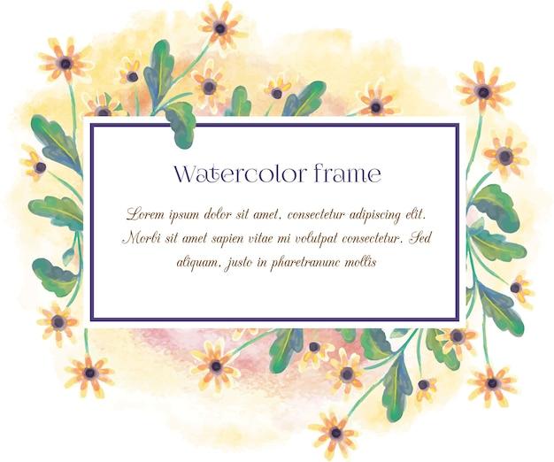 タイポグラフィーとヴィンテージ水彩花のフレーム