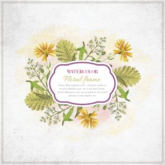 Винтажная акварель цветочная рамка с типографикой