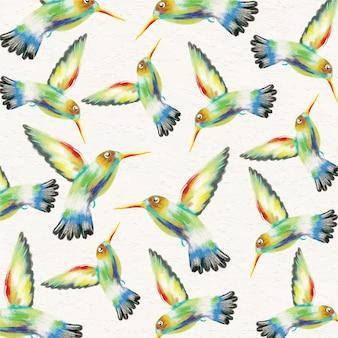 Акварельный фон с колибри