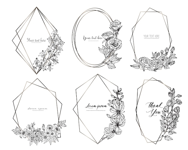 手で幾何学的なフレームのセットには、花が描かれています。植物の組成