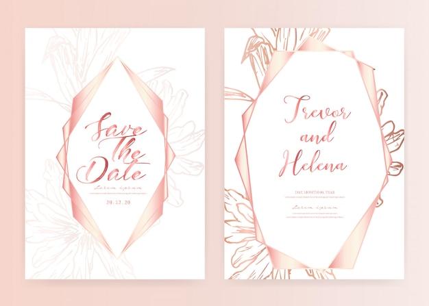 日付の結婚式のカード、手描き植物の結婚式の招待状を保存します。