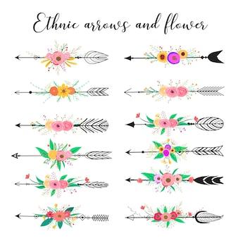 Этнические стрелы и цветы, перья и цветы стиль бохо.