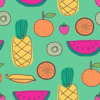 Бесшовный фон с ананасом, апельсином, арбузом, киви и летними фруктами.