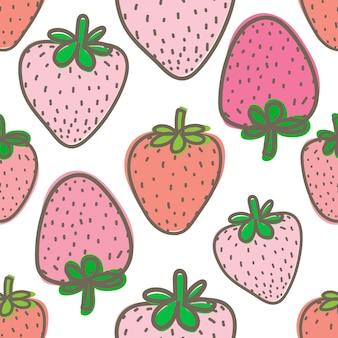 ギフト包装用イチゴのシームレスパターン。