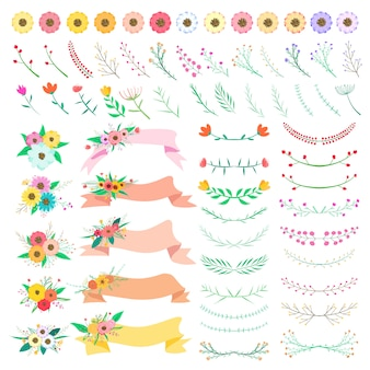 花の要素セット。ベクター装飾花と葉