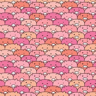 Симпатичные свиньи бесшовные модели.