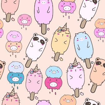 Картина милого животного мороженого безшовная для дизайна упаковочной бумаги.
