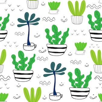 Бесшовный фон суккулентных растений.