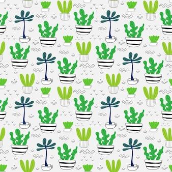 多肉植物のシームレスなパターン背景。