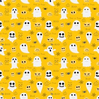 黄色のハロウィーンのシームレスパターン