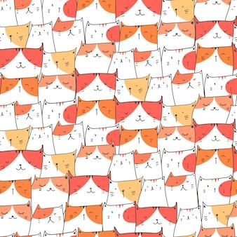 かわいい猫のシームレスなパターン背景。