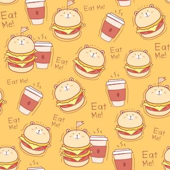 シームレスパターンのハンバーガーの背景。