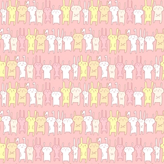かわいいバニーのシームレスパターン