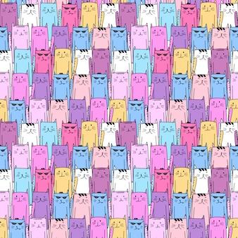 かわいい猫のシームレスパターン