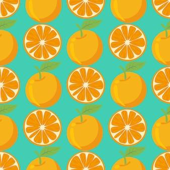 オレンジ色の果物のシームレスなパターン背景。