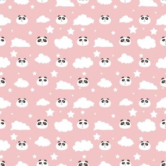 かわいいパンダのシームレスなパターン背景