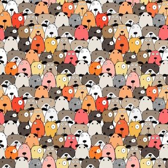 かわいい犬のシームレスなパターン背景