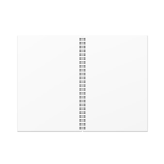白い背景にベクトル開いた空のノートブックのテンプレート