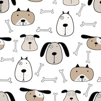 かわいい犬のシームレスパターン