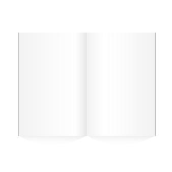 白い背景に広げられたベクトルの空の雑誌