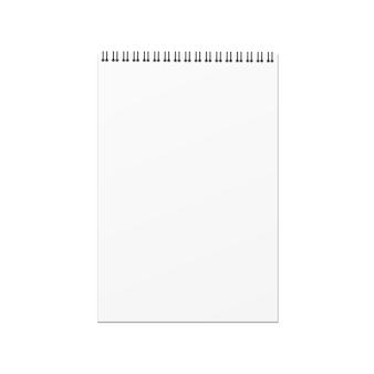 白い背景にベクトルの空のハードカバーブックテンプレート。