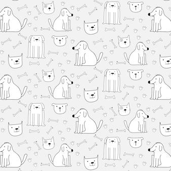 手描きのかわいい犬のパターンの背景。ベクトルイラストレーション。