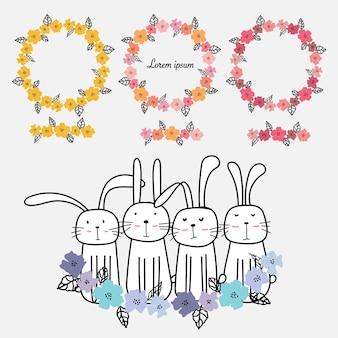 手描きの花のフレームのセット