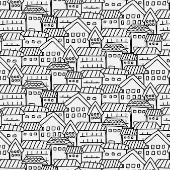 都市の背景と手描きのパターン。