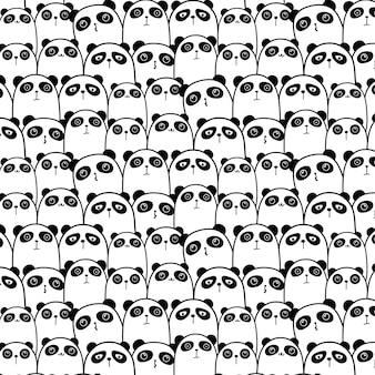 かわいいパンダパターンの背景。