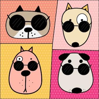 かわいい犬の顔キャラクターセット。