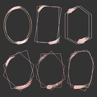 幾何学的なピンクゴールドのフレームのセット。