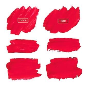 赤い筆のストロークは、白い背景、ベクトル図に分かれています。