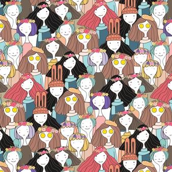 かわいい女の子キャラクターパターン背景。