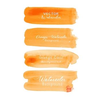 Оранжевая кисть инсульта акварель на белом фоне.