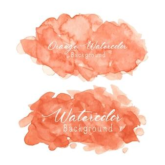 Оранжевый абстрактный фон акварелью.