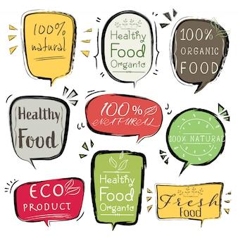 バナーエコ製品、自然、完全菜食主義者、有機、新鮮な健康的な食品のセットです。
