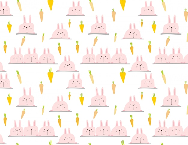 かわいいバニーパターン背景、子供のためのイースターのパターン、ベクトル図。