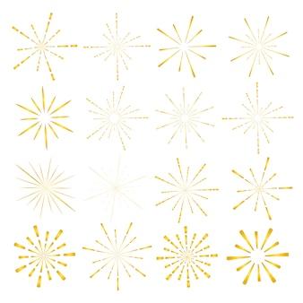 黄金のサンバーストスタイルの白い背景で隔離のセットです。