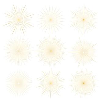 Набор золотых солнечных лучей стиль, изолированные на белом фоне.