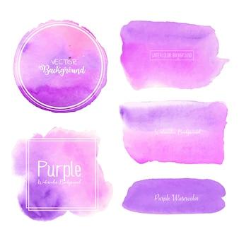紫色の水彩画の背景、パステルカラーの水彩ロゴ、ベクトルイラスト。