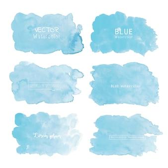青い水彩背景、パステルカラーの水彩ロゴ