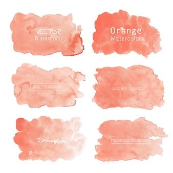 オレンジ色の水彩背景、パステルカラーの水彩ロゴ