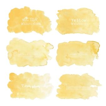 黄色の水彩画の背景、パステルカラーの水彩ロゴ