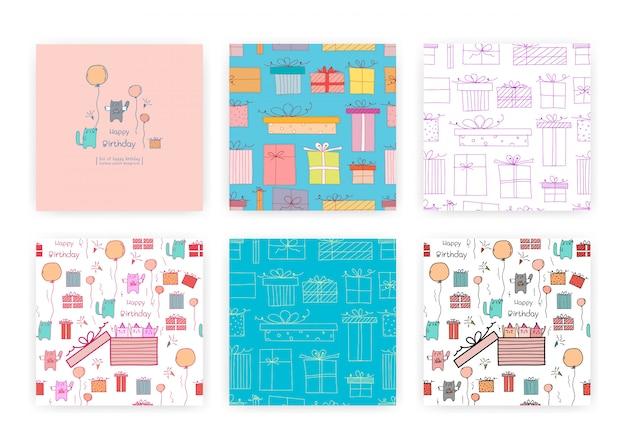 かわいい猫とギフトボックスとのシームレスなパターンのセットです。ギフト包装デザインのイラスト。