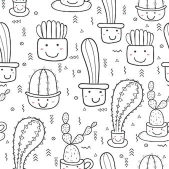 Симпатичные бесшовные кактус. векторные иллюстрации для дизайна подарочной упаковки.