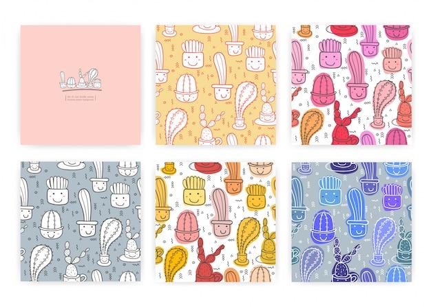 かわいいシームレスサボテンパターンのセットです。ギフト包装デザインのベクトルイラスト。